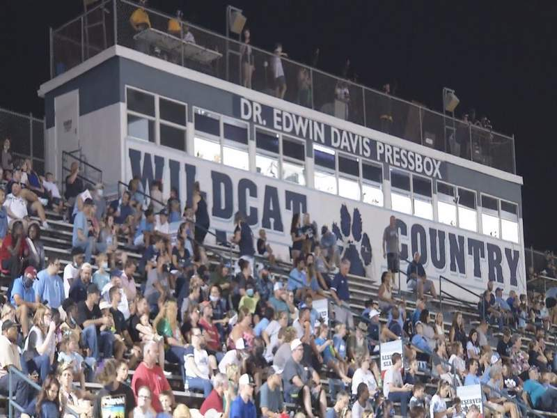 Crowds of spectators at a high school football game in Camden County on Sept. 4, 2020.