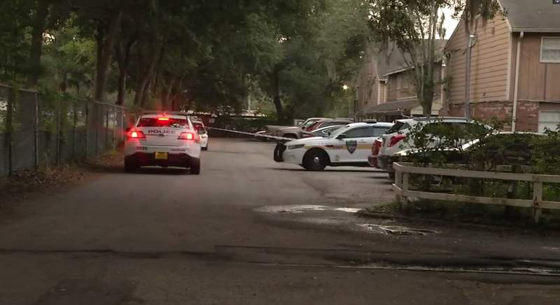 Three Jacksonville Sheriff Cruisers were still on scene at 6:45 Friday morning.