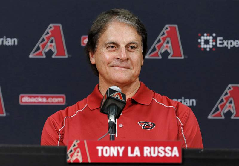 FILE - In this May 17, 2014, file photo, Tony La Russa, newly hired as chief baseball officer for the Arizona Diamondbacks, speaks to reporters after being introduced in Phoenix. The Los Angeles Angels granted the Chicago White Sox permission to interview Hall of Famer Tony La Russa for their managing job, a person familiar with the situation said Wednesday, Oct. 14, 2020. A three-time World Series-winning manager, the 76-year-old La Russa joined the Angels prior to this season as senior advisor of baseball operations. (AP Photo/Matt York, File)