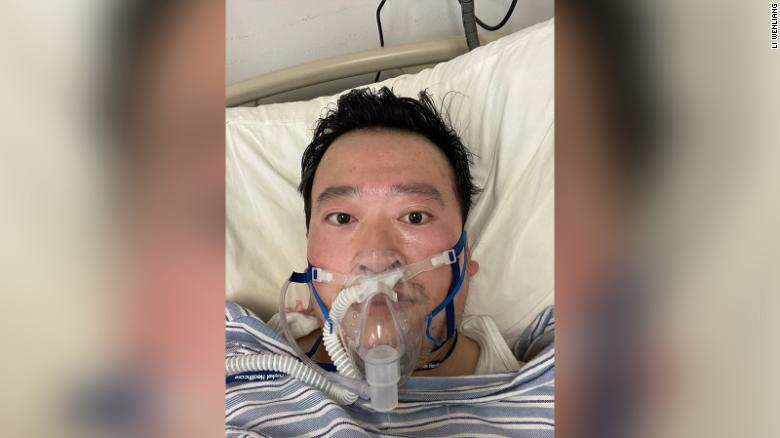 Wuhan doctor Li Wenliang lied in an intensive care bed on oxygen support in hospital after contracting the coronavirus.