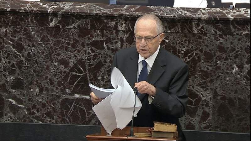 In this image from video, Alan Dershowitz, an attorney for President Donald Trump, speaks during the impeachment trial against Trump in the Senate at the U.S. Capitol in Washington.