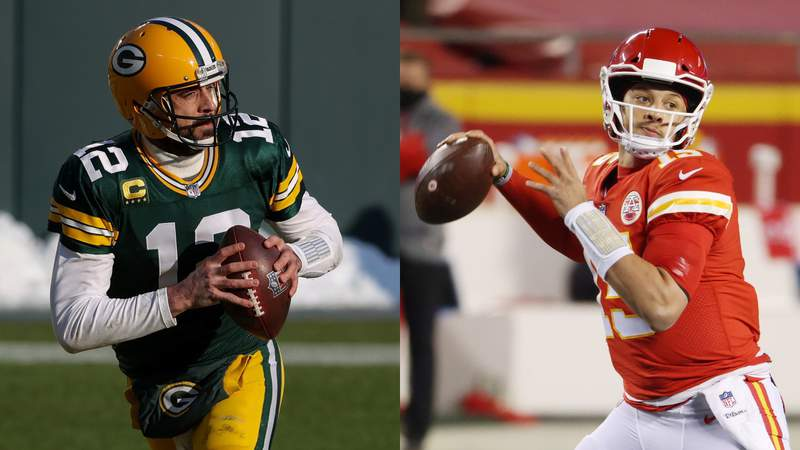 Left: Aaron Rodgers of the Green Bay Packers drops back to pass in the first quarter against the Tampa Bay Buccaneers during the NFC Championship game on Jan. 24, 2021 in Green Bay, Wisconsin. Right: Patrick Mahomes of the Kansas City Chiefs throws a pass in the first half against the Buffalo Bills during the AFC Championship game on Jan. 24, 2021 in Kansas City, Missouri. (Photo by Jamie Squire/Getty Images)