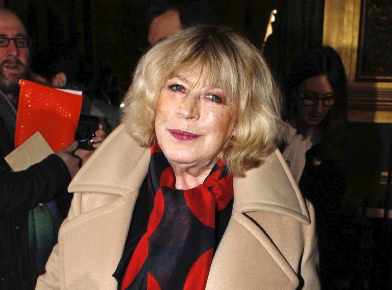 FILE - This March 3, 2014 file photo shows British singer Marianne Faithfull at the Stella McCartney's ready-to-wear fall/winter 2014-2015 fashion collection presented in Paris. Faithfull has been discharged from a London hospital after being treated for coronavirus. The announcement, posted to Faithfulls social media accounts Wednesday, said the 73-year-old was released after being hospitalized for 22 days.   (AP Photo/Thibault Camus, File)