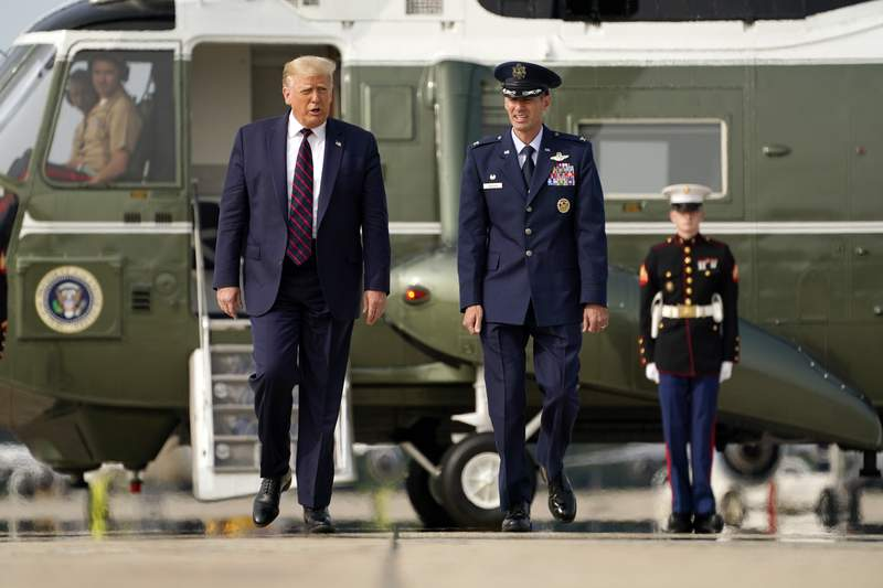 President Donald Trump walks from Marine One to board Air Force One for a trip to Philadelphia, to attend an ABC News town hall, Tuesday, Sept. 15, 2020, at Andrews Air Force Base, Md. (AP Photo/Evan Vucci)
