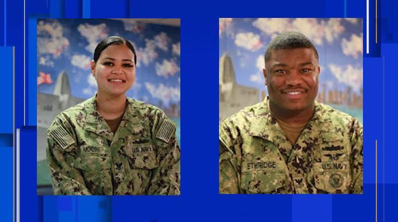 (Left) Petty Officer 2nd Class Kaylee Moore (Right) Petty Officer 1st Class Rashaad Ethridge