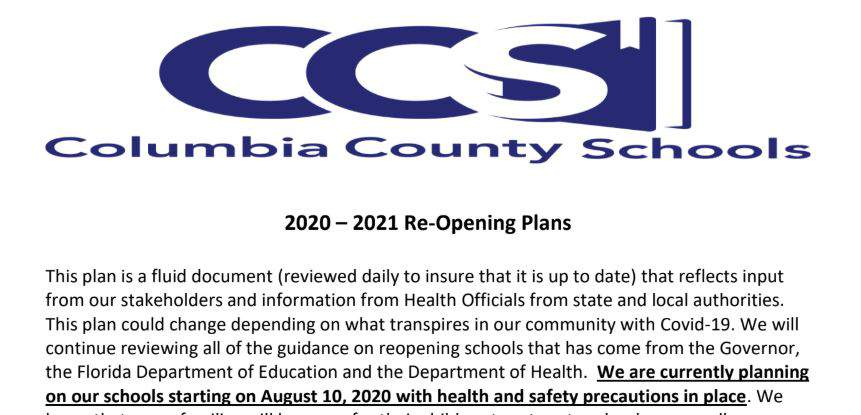 Columbia County School Calendar 2021 Columbia County releases back to school plans