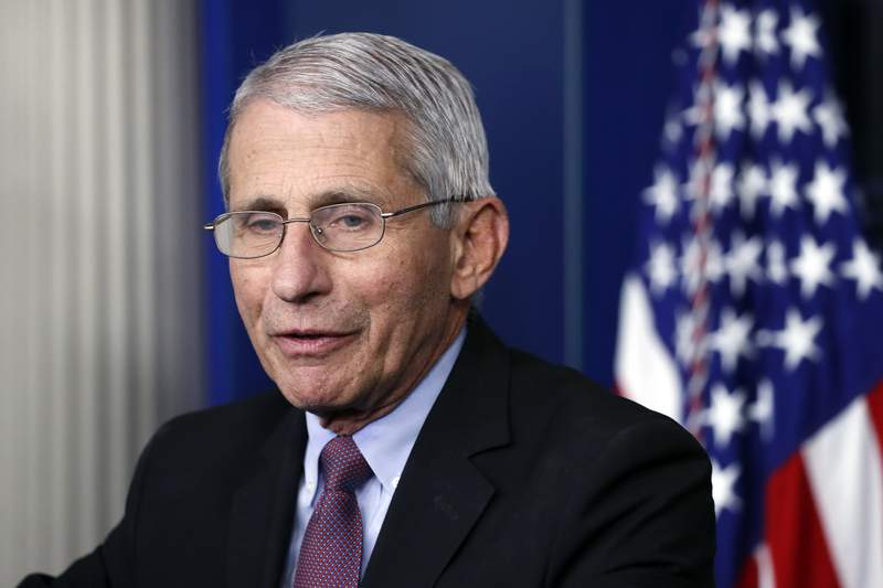 Dr. Anthony Fauci, director of the National Institute of Allergy and Infectious Diseases, speaks about the new coronavirus in the James Brady Press Briefing Room of the White House, in Washington. Three members of the White House coronavirus task force, including Fauci, have placed themselves in quarantine after contact with someone who tested positive for COVID-19, another stark reminder that not even one of the nations most secure buildings is immune from the virus. (AP Photo/Alex Brandon, File)