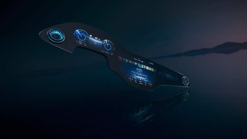 In this undated handout image provided by Mercedes-Benz, a new MBUX Hyperscreen is pictured. The new electric sedan from Mercedes will replace the conventional dashboard with a screen that extends almost the width of the car. (Mercedes-Benz via AP)