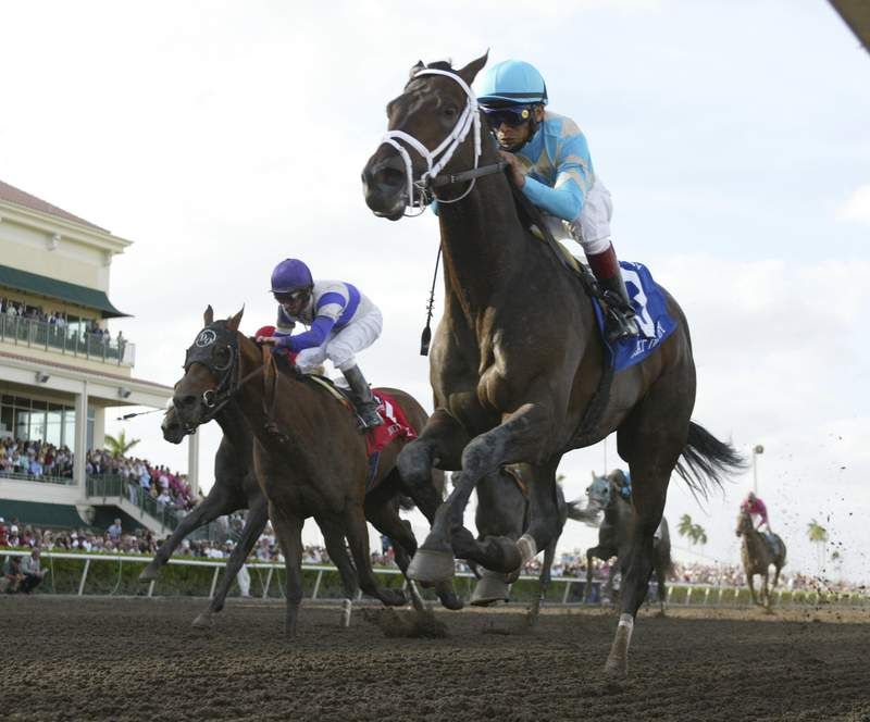 FILE - In this March 31, 2007, file photo provided by Equi-Photo, Scat Daddy, right, ridden by Edgar Pardo, wins the Florida Derby horse race at Gulfstream Park in Hallandale Beach, Fla. The winner might not go to the Kentucky Derby, there won't be any fans there and many top jockeys won't be riding. Despite all that, the Florida Derby is going off as scheduled Saturday, March 28, 2020. (AP Photo/Equi-Photo/Gary I Rothstein, FIle)