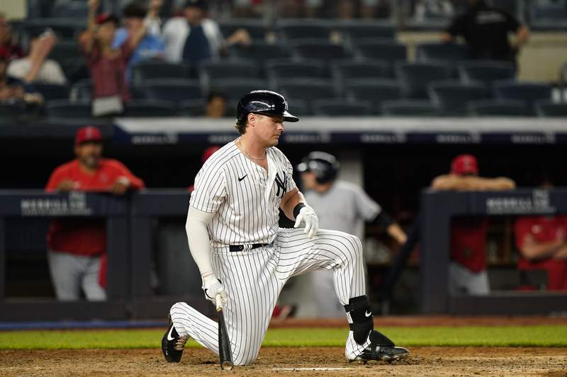 New York Yankees Luke Voit reacts after striking out trying to check his swing in the ninth inning against the Los Angeles Angels in a baseball game, Monday, June 28, 2021, at Yankee Stadium in New York. (AP Photo/Kathy Willens)