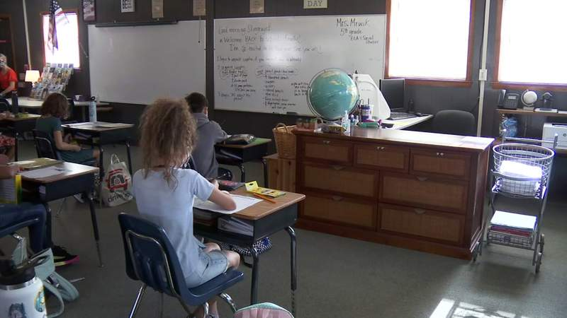 Students learn in a portable classroom in Clay County.
