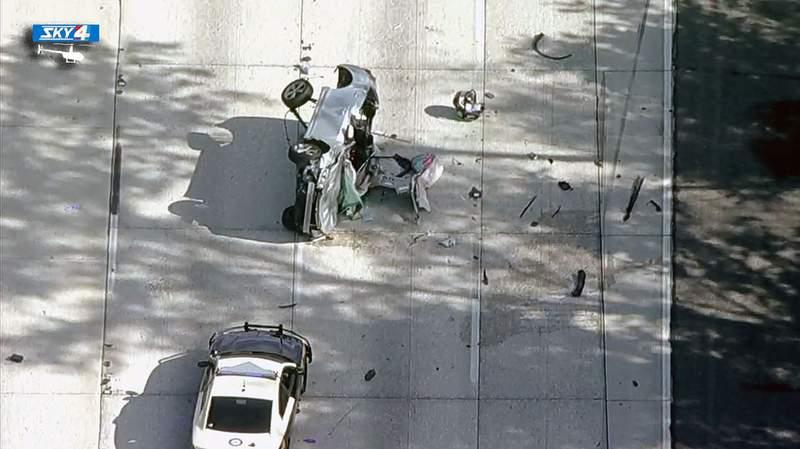 Sedan among vehicles in crash Friday morning on I-95 near Airport Road.