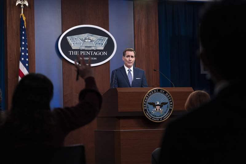 FILE - In this Feb. 17, 2021, file photo, Pentagon spokesman John Kirby speaks during a media briefing at the Pentagon in Washington. A U.S. airstrike targeting facilities used by Iran-backed militias in Syria appears to be a message to Tehran delivered by a new American administration still figuring out its approach to the Middle East. Kirby said the operation in Boukamal, Syria, sends an unambiguous message: President Biden will act to protect American and coalition personnel. At the same time, we have acted in a deliberate manner that aims to deescalate the overall situation in eastern Syria and Iraq. (AP Photo/Alex Brandon, File)