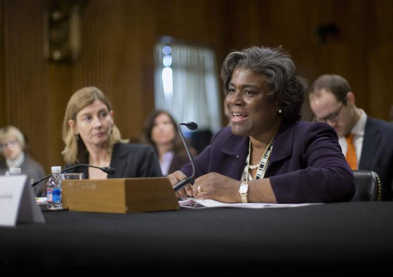 FILE - In this Jan. 9, 2014, file photo Assistant Secretary of State for African Affairs Linda Thomas-Greenfield, right, testifies during a Senate Foreign Relations Committee hearing on Capitol Hill in Washington. President-elect Joe Biden is expected to tap longtime diplomat Linda Thomas-Greenfield as the U.S. ambassador to the United Nations. (AP Photo/Pablo Martinez Monsivais, File)