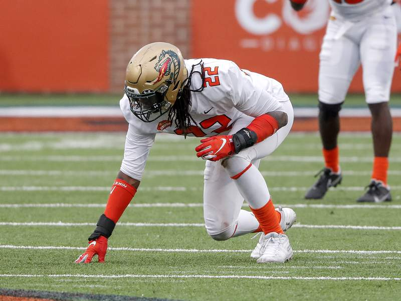 Linebacker Jordan Smith from UAB of the American Team during the 2021 Resse's Senior Bowl at Hancock Whitney Stadium on the campus of the University of South Alabama on January 30, 2021 in Mobile, Alabama. The National Team defeated the American Team 27-24. (Photo by Don Juan Moore/Getty Images)