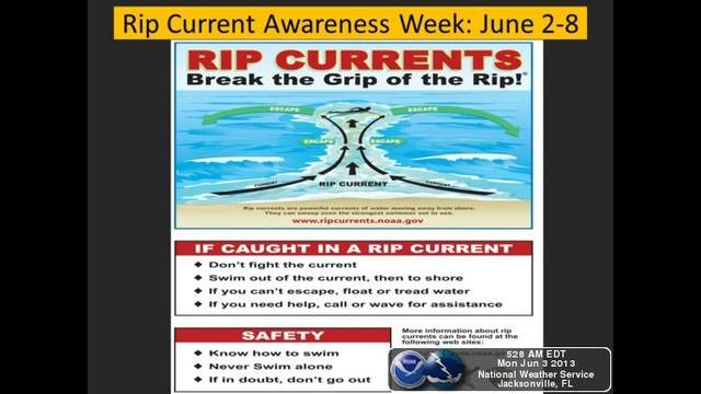 The National Weather Service designates the first week in June to educate and promote safety concerning rip currents