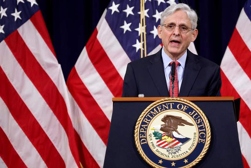 FILE - U.S. Attorney General Merrick Garland speaks during an event at the Justice Department in Washington, U.S., on June 15, 2021.