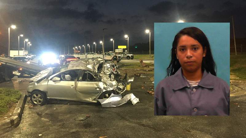 Jennifer Carvajal, 24, in an undated Florida Departments of Correction photo pictured with a crash she's accused of causing in Tampa.