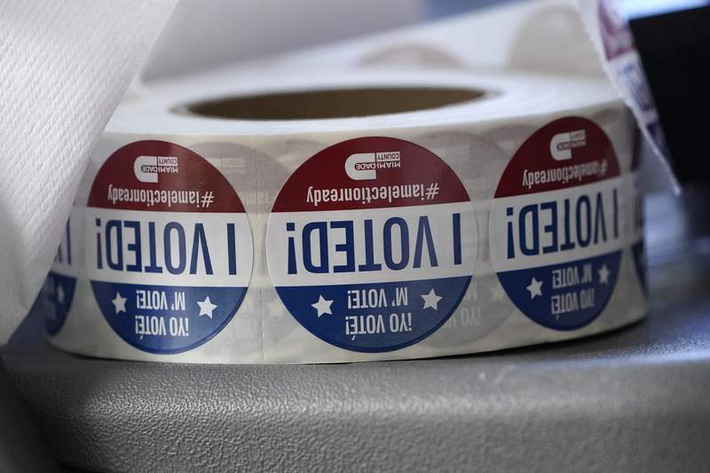 """A roll of """"I Voted!"""" stickers are shown, Tuesday, Oct. 6, 2020, at the Miami-Dade County Elections Department in Doral, Fla. Republicans in Florida are fighting to energize President Donald Trump's base while the president recovers from the coronavirus. (AP Photo/Wilfredo Lee)"""
