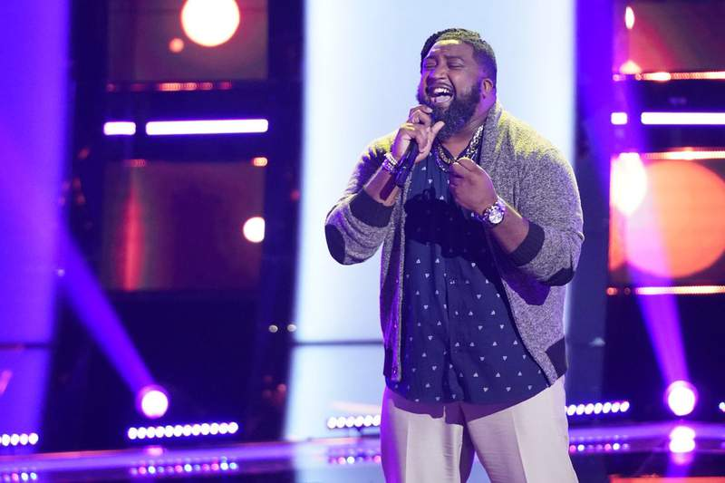 """Paris Winningham performs on the """"Blind Auditions"""" of """"The Voice."""" (Photo by: Tyler Golden/NBC)"""