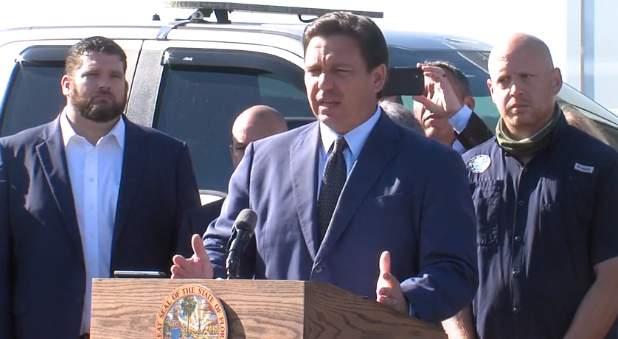 Gov. Ron DeSantis during a press conference.
