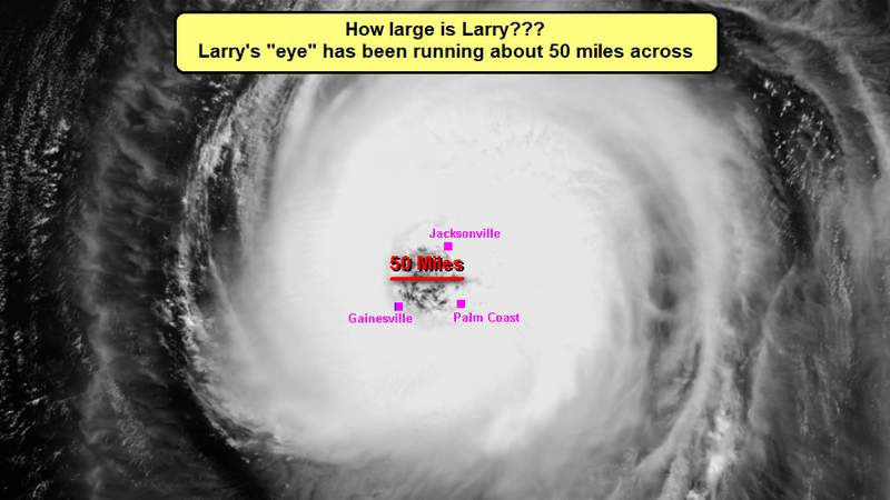 """His """"eye"""" is 50-55 miles wide, which is large enough to have Gainesville, Jacksonville and Palm Coast (and all points in between) in Larry's """"eye"""" at the same time!"""