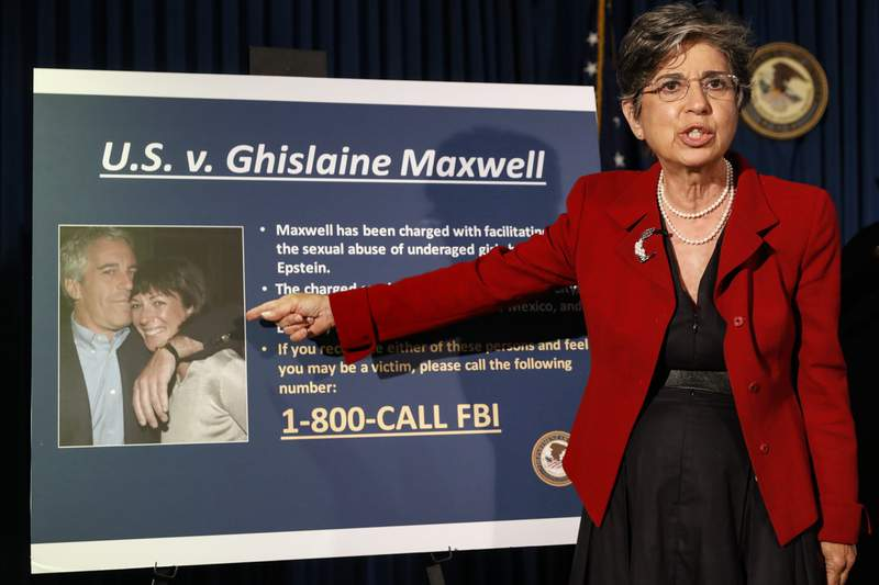 Audrey Strauss, Acting United States Attorney for the Southern District of New York, speaks during a news conference to announce charges against Ghislaine Maxwell for her alleged role in the sexual exploitation and abuse of multiple minor girls by Jeffrey Epstein, Thursday, July 2, 2020, in New York. (AP Photo/John Minchillo)
