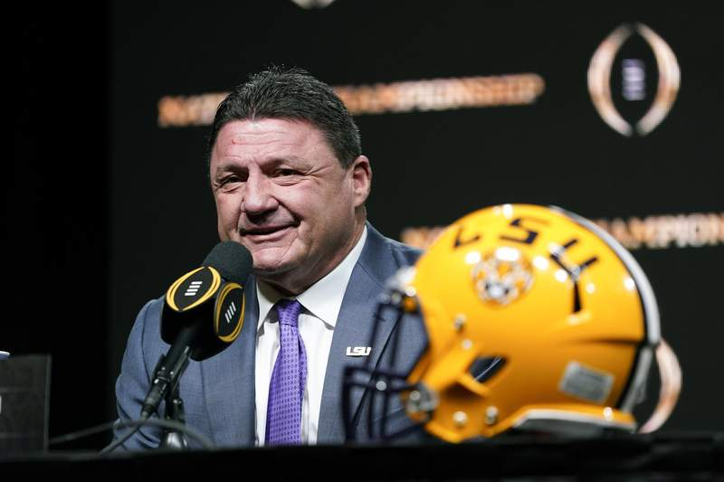 FILE - In this Jan. 12, 2020, file photo, LSU head coach Ed Orgeron speaks during a news conference for the NCAA College Football Playoff national championship game in New Orleans. LSU coach Ed Orgeron is looking to add a defensive back to the 2020 Tigers at a time when uncertainty caused by the coronavirus pandemic could theoretically help him land an established player from another major conference. Were a little short at cornerback, Orgeron said during a video media conference Tuesday, Aug. 25, 2020. (AP Photo/David J. Phillip, FIle)