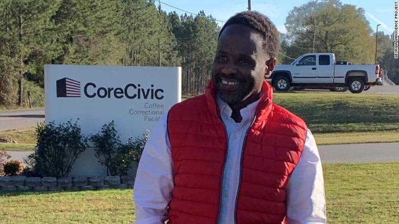 Robinson, seen here shortly after his release Wednesday, will stay with relatives in southern Georgia, the Georgia Innocence Project says.