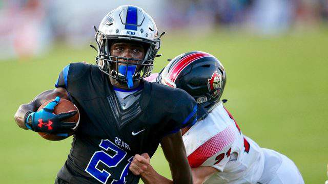 Bartram running back Eric Weatherly (21) breaks a tackle at the end of the first half and scores a touchdown against Creekside on Saturday night in a 2019 game. (Photo by Ralph D. Priddy)