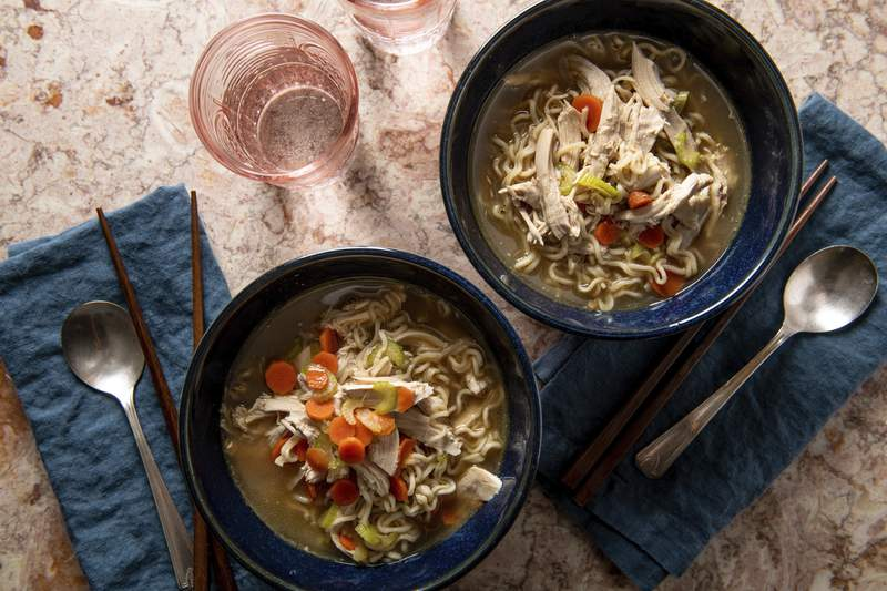 This image shows a recipe for chicken ramen noodle soup. More people are cooking at home these days, and when they do eat restaurant food, theyre often looking for comfort food, experts say. Other trends include simpler recipes, recipes with fewer ingredients, one-pot meals, sheet-pan meals, finger food and pantry-ingredient recipes, all up significantly year over year. (Cheyenne M. Cohen/Katie Workman via AP)