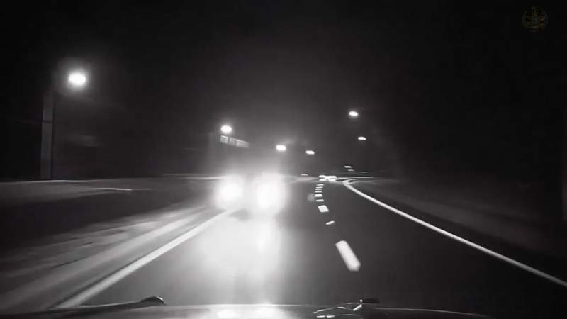 Dashboard camera video released by the Alachua County Sheriff's Office shows a vehicle that almost hit a deputy head-on.
