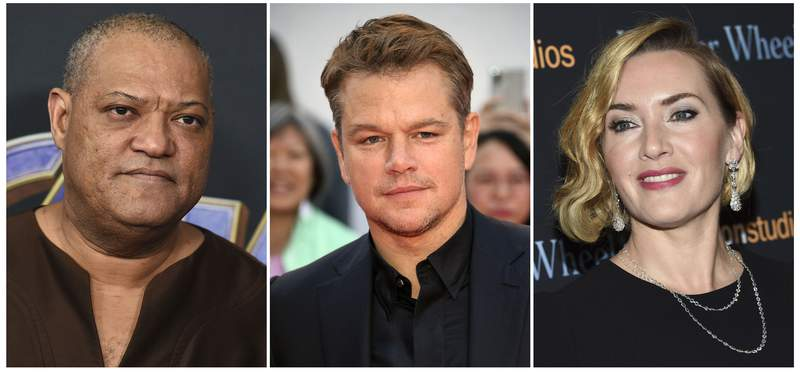 This combination photo shows actors, from left, Laurence Fishburne, Matt Damon and Kate Winslet, who are among the stars of the 2011 thriller Contagion who have reunited for a series of public service announcements to warn about COVID-19. They have teamed up with scientists from Columbia University's Mailman School of Public Health to offer four individual homemade videos. (AP Photo)