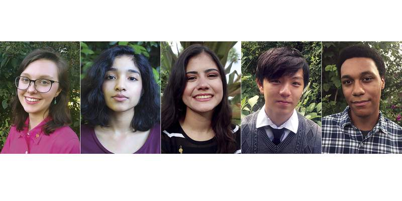 This combination of photos released by the National Student Poets Program shows, from left, Madelyn Dietz, Manasi Garg, Isabella Ramirez, Ethan Wang and Anthony Wiles who have been named finalists in the Class of 2020 National Student Poets Program. Each receives a $5,000 cash award. (National Student Poets Program via AP)