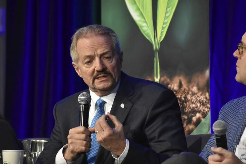 """FILE - In this Oct. 11, 2019, file photo, U.S. Bureau of Land Management Acting Director William """"Perry"""" Pendley speaks at a conference for journalists in Fort Collins, Colo. President Donald Trump intends to withdraw the nomination of Pendley to head the Bureau of Land Management, a senior administration official said Saturday, Aug. 15, 2020, much to the relief of environmentalists who insisted the longtime advocate of selling federal lands should not be overseeing them. (AP Photo/Matthew Brown, File)"""