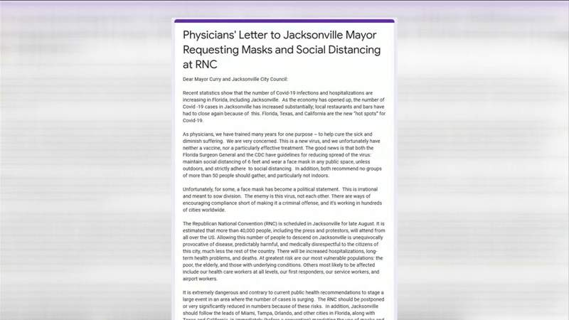 City says it hasn't received letter from physicians concerned about Republican National Convention