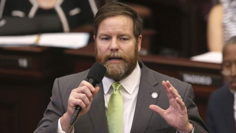 Sen. Aaron Bean, R-Fernandina Beach, debates a bill on the House floor in 2019.