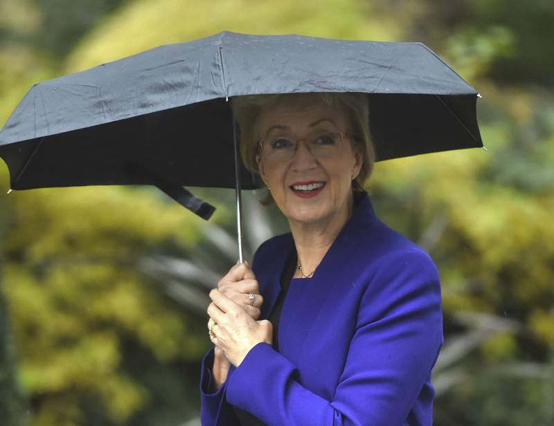 Britain's ruling Conservative Party Business Secretary Andrea Leadsom arrives for a Cabinet meeting in 10 Downing Street, London, Thursday October 24, 2019. Britain's Prime Minister Boris Johnson won Parliament's backing for his Europe exit deal on Wednesday, but then lost a key vote on its timing, effectively guaranteeing that Brexit won't happen on the scheduled date of Oct. 31. (Kirsty O'Connor/PA via AP)