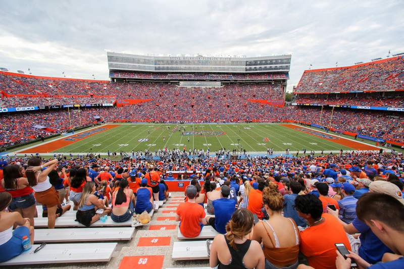 GAINESVILLE, FLORIDA - SEPTEMBER 28: A General View of Ben Hill Griffin Stadium during the third quarter of the Towson Tigers Versus the Florida Gators on September 28, 2019 in Gainesville, Florida. (Photo by James Gilbert/Getty Images)