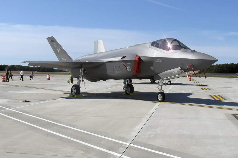 An F-35 fighter jet arrives at the Vermont Air National Guard base in South Burlington, Vermont. The Wisconsin Air National Guard unit based in Madison was among the first to be awarded a squadron of F-35 fighter jets.
