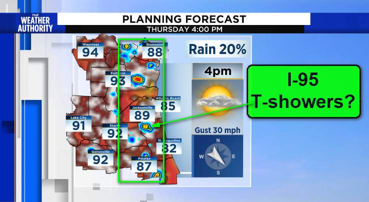 Possible I-95 T-showers mid afternoon Thursday?