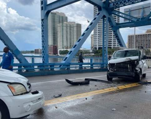 Crash with injuries on the Main Street Bridge near downtown Jacksonville.