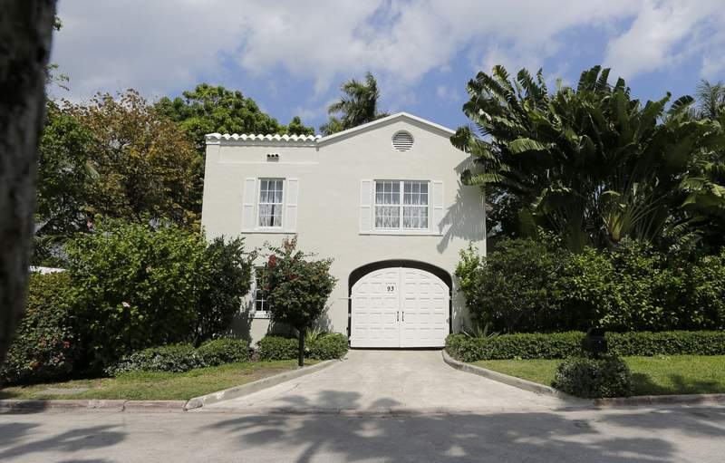 The gate house entrance of the waterfront mansion once owned by gangster Al Capone in Miami Beach, Fla., Wednesday, March 18, 2015. The South Florida house that Capone owned for nearly two decades, and died in, is facing demolition plans. The Miami Herald reported Thursday, Sept. 2, 2021 that the new owners of the nine-bedroom, Miami Beach house plan to demolish it after buying it for $10.75 million this summer. (AP Photo/Alan Diaz)