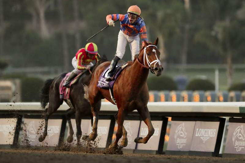 Irad Ortiz Jr. celebrates after riding Vino Rosso to victory in the Breeders' Cup Classic horse race at Santa Anita Park, Saturday, Nov. 2, 2019, in Arcadia, Calif. (AP Photo/Gregory Bull)