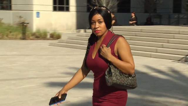 Brittney Jones leaving Duval County jail after hearing.