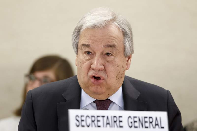 U.N. Secretary-General Antonio Guterres addresses his statement, during the opening of the High-Level Segment of the 43rd session of the Human Rights Council, at the European headquarters of the United Nations in Geneva, Switzerland, Monday, Feb. 24, 2020. (Salvatore Di Nolfi/Keystone via AP)