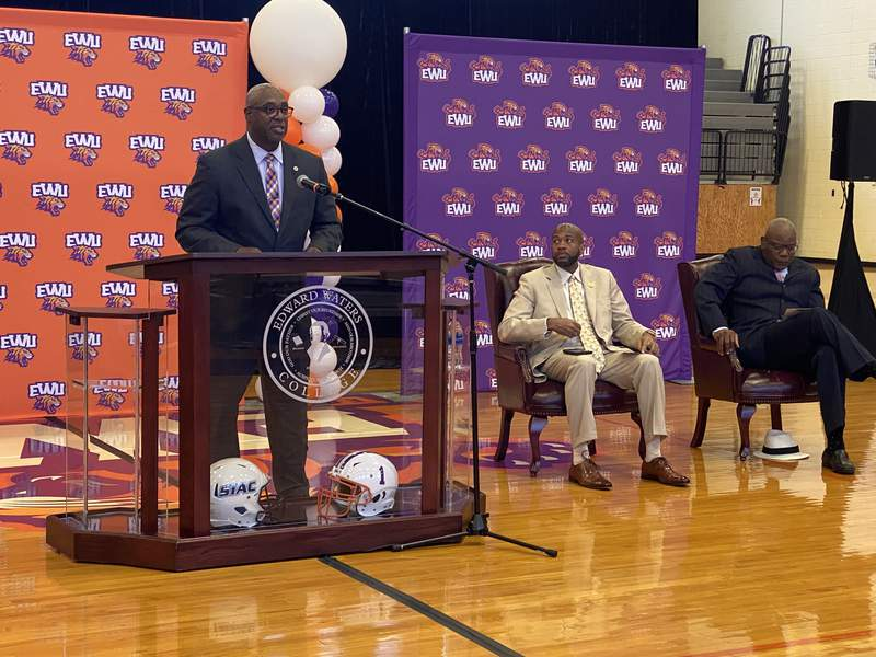 Edward Waters athletic director Paul Bryant speaks at a press conference on Monday to announce the Tigers had been extended membership in NCAA Division II.