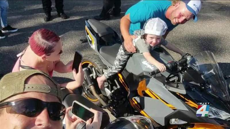 Boy who loves motorcycles gets his 3rd birthday wish granted