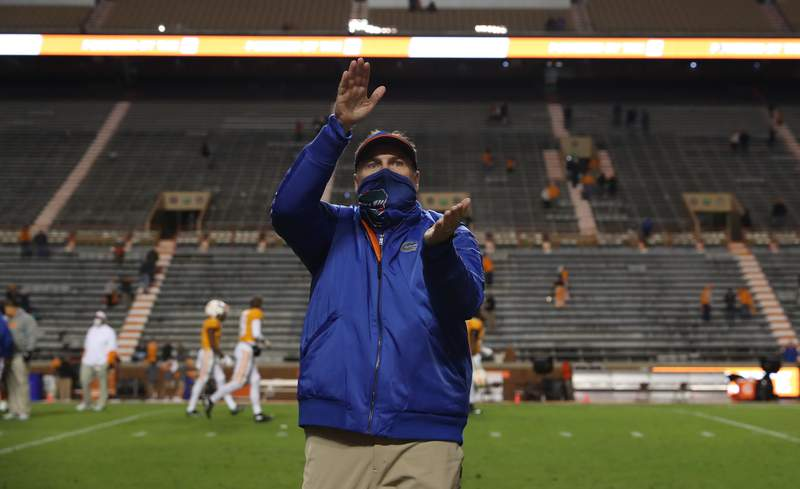 Dan Mullen after the Gators' game against the Tennessee Volunteers on Saturday, December 5, 2020 at Neyland Stadium in Knoxville, Tenn. / UAA Communications photo by Tim Casey