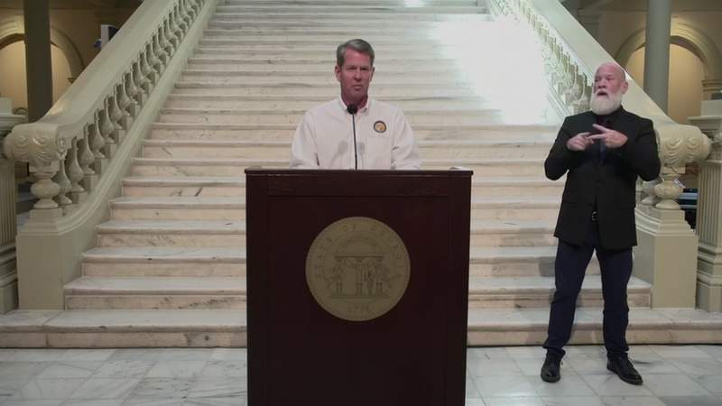 Georgia Gov. Brian Kemp holds a news conference on Thursday, May 7.